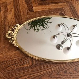 Other - 🦋 Antique Vanity Mirror Tray w Floral Detailing